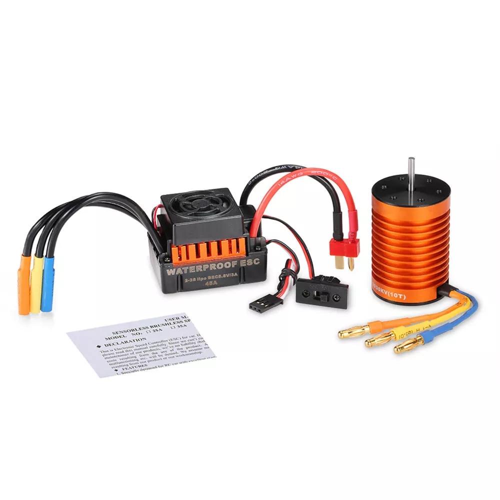 Surpass Hobby Waterproof F540 3930KV 4370KV 3300KV 3000KV Brushless Motor +45A ESC For 1/10 Rc Car Parts