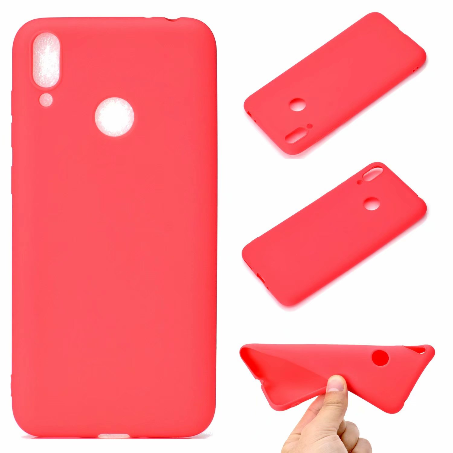 For HUAWEI Honor 8C Lovely Candy Color Matte TPU Anti-scratch Non-slip Protective Cover Back Case red