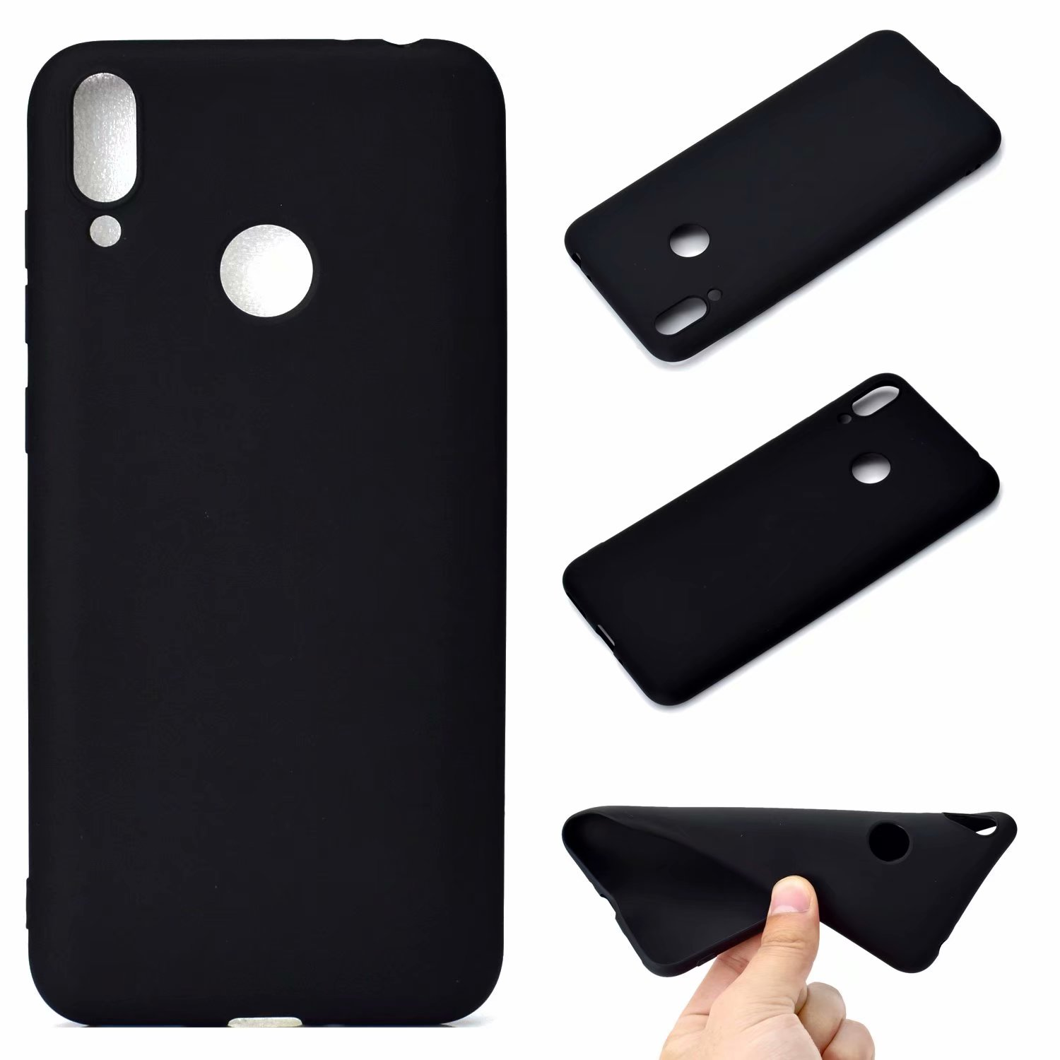 For HUAWEI Honor 8C Lovely Candy Color Matte TPU Anti-scratch Non-slip Protective Cover Back Case black