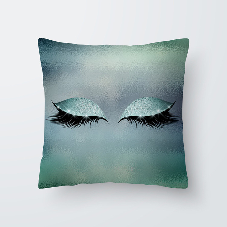 Eyelash Pattern Throw Pillow Cover for Living Room Sofa Sleeping Waist Support 39#_45*45cm