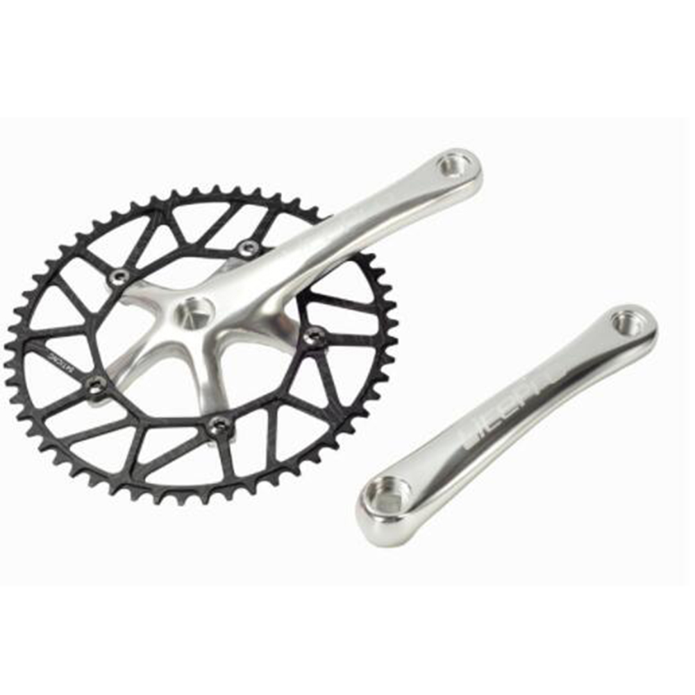 Ultra-light Strong Square Hole Sprocket Wheel Crank Set 170mm Folding Car Crank bcd130mm BMX Road Mountain Bike Crank Gear Silver_Special size