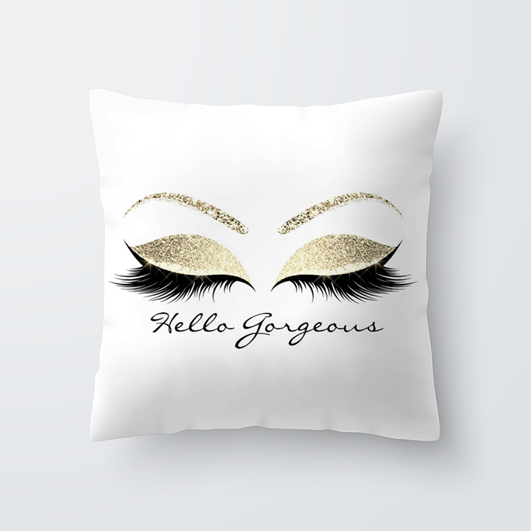 Eyelash Pattern Throw Pillow Cover for Living Room Sofa Sleeping Waist Support 40#_45*45cm