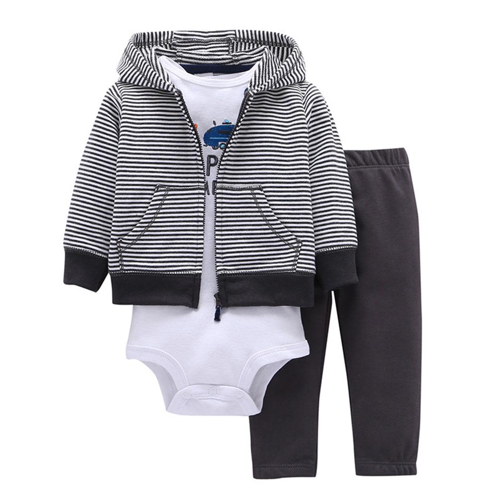 3Pcs/Set Baby Newborn Soft Cotton Jumpsuit Clothes Set Long Sleeve Hooded Jacket + Jumpsuit + Pants Costumes