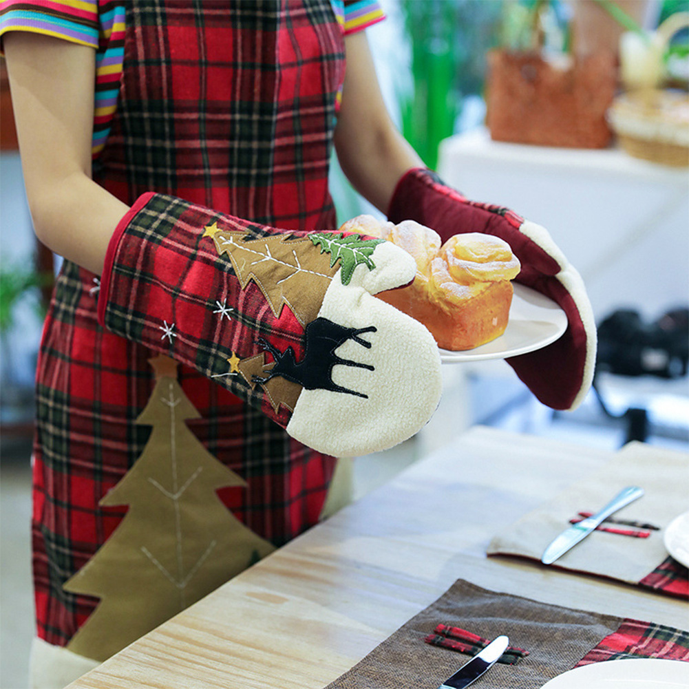 Plaid Oven Gloves Kitchen Microwave Oven Insulation Placemat Mitts Christmas Decoration red