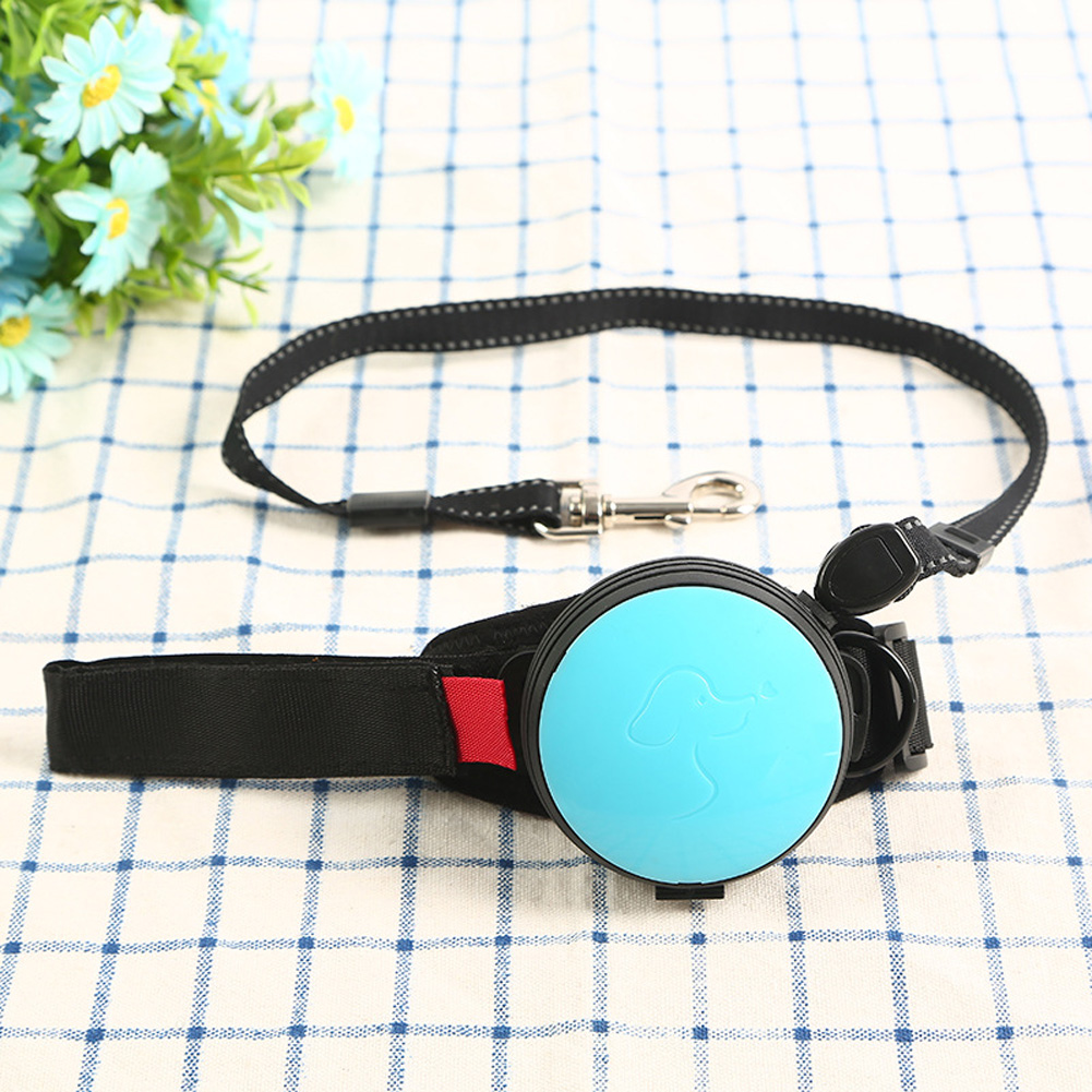 Pet Leashes Hands-free Automatic Shrink Nylon Leash Pets Pull Dog Chains Traction Ropes blue_L