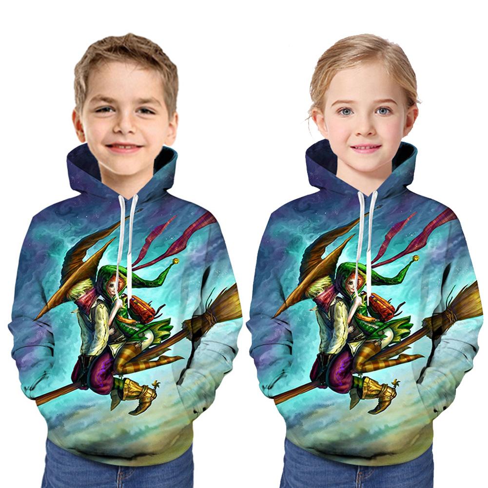 Boys and Girls Children Hoodies Halloween Cartoon Pattern 3D Digital Printing Fashion Hoodie Sweatshirts blue_L (160cm)