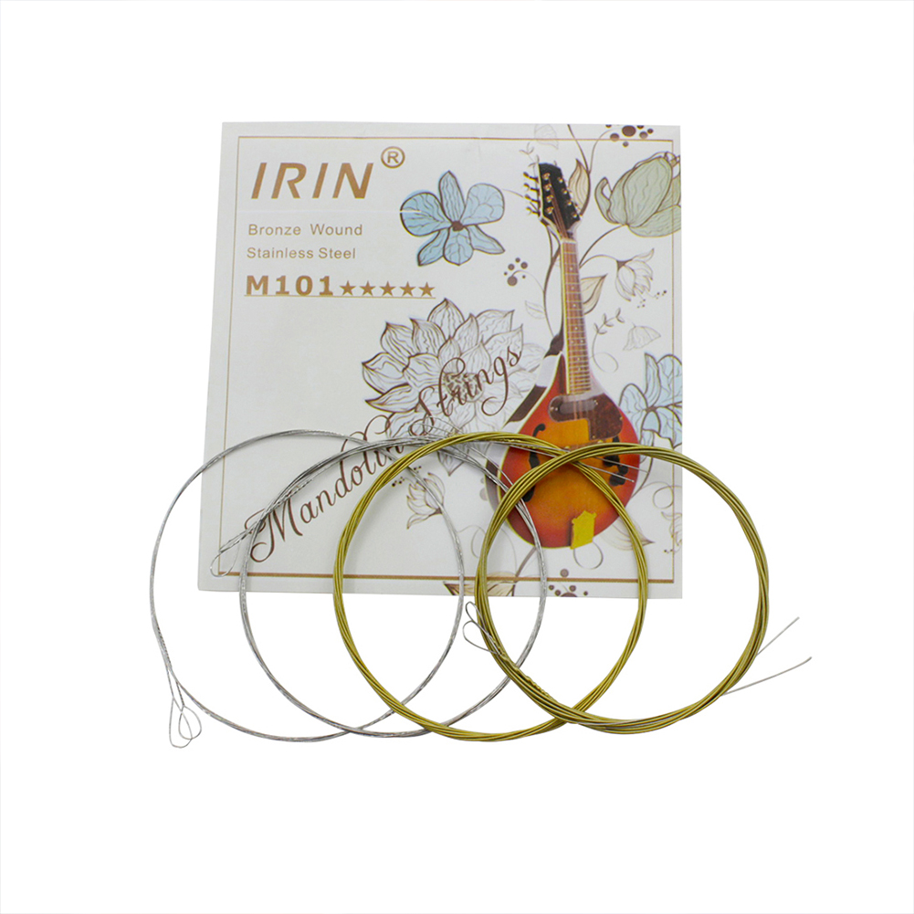IRIN M101 Mandolin Strings Set Silver-Plated Stainless Steel Copper Alloy Wound  Gold + silver