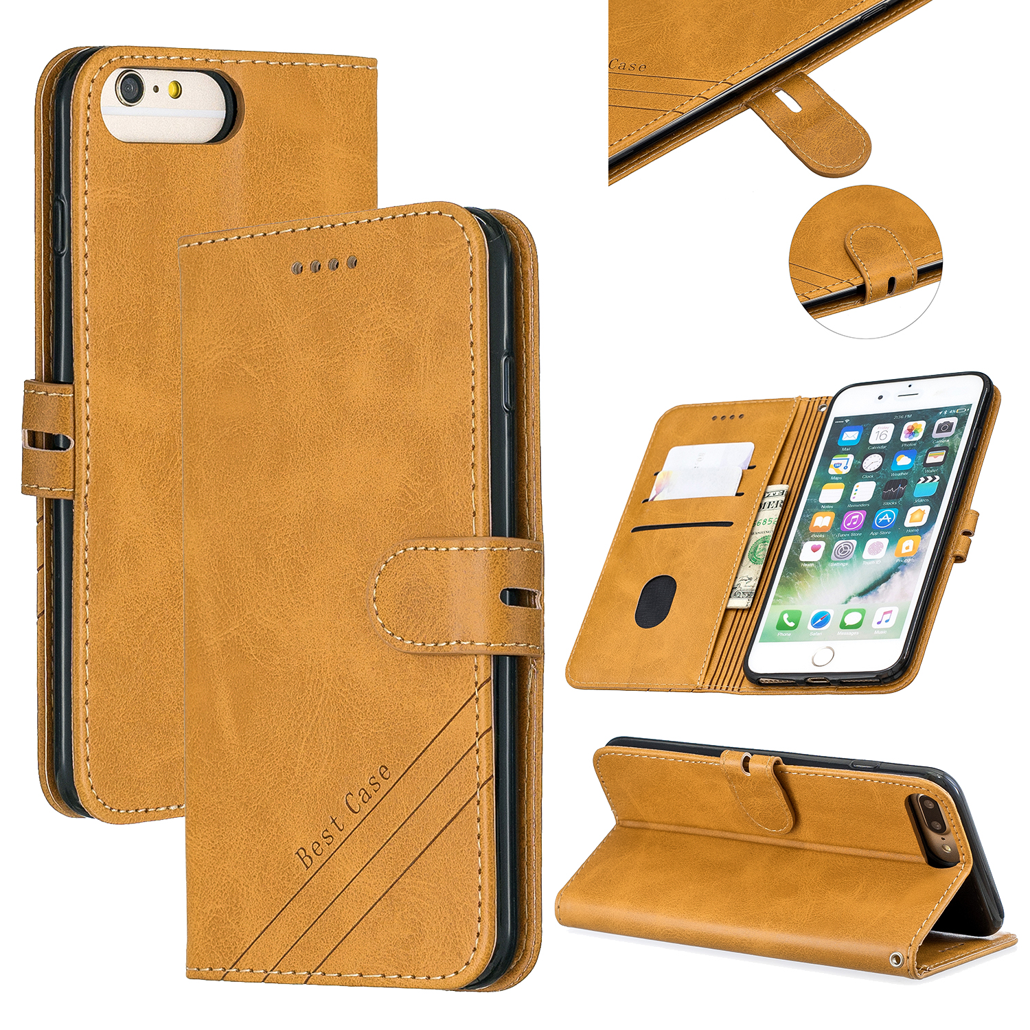 For iPhone 6 plus / 6S plus / 7 plus / 8 plus Denim Pattern Solid Color Flip Wallet PU Leather Protective Phone Case with Buckle & Bracket yellow