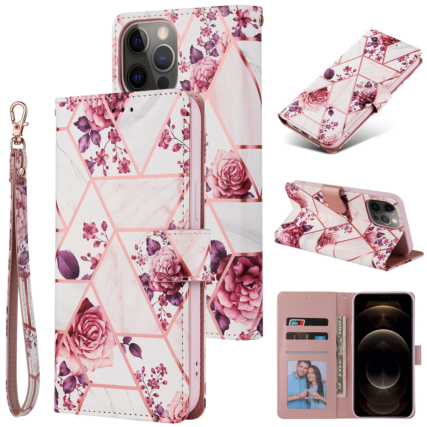 For Iphone 12 Mobile Phone Cover Matte Marble Pattern Multi-function  Flip Phone Leather Case Rose gold