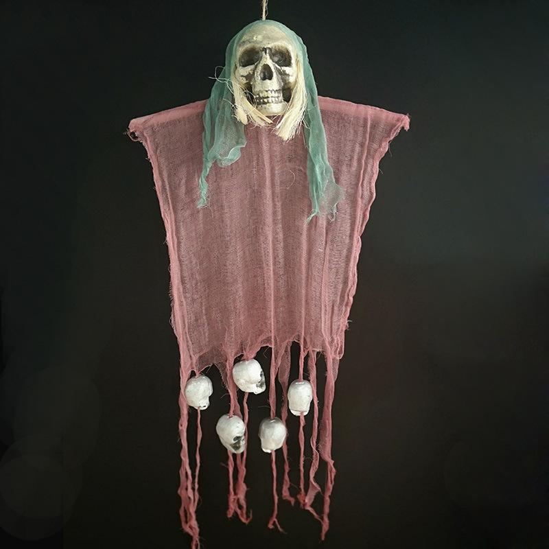 Ghost Skeleton Pendant Decoration Terror Decorative Prop for Halloween Haunted House Bar Green cloth