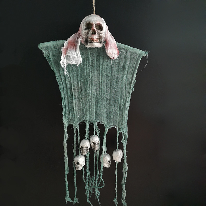 Ghost Skeleton Pendant Decoration Terror Decorative Prop for Halloween Haunted House Bar White cloth