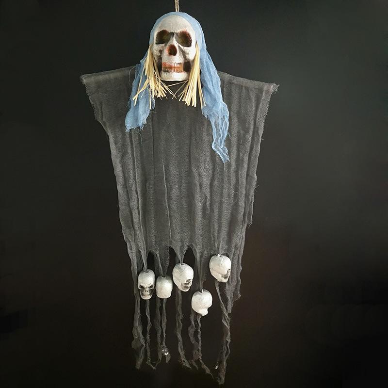 Ghost Skeleton Pendant Decoration Terror Decorative Prop for Halloween Haunted House Bar Blue cloth