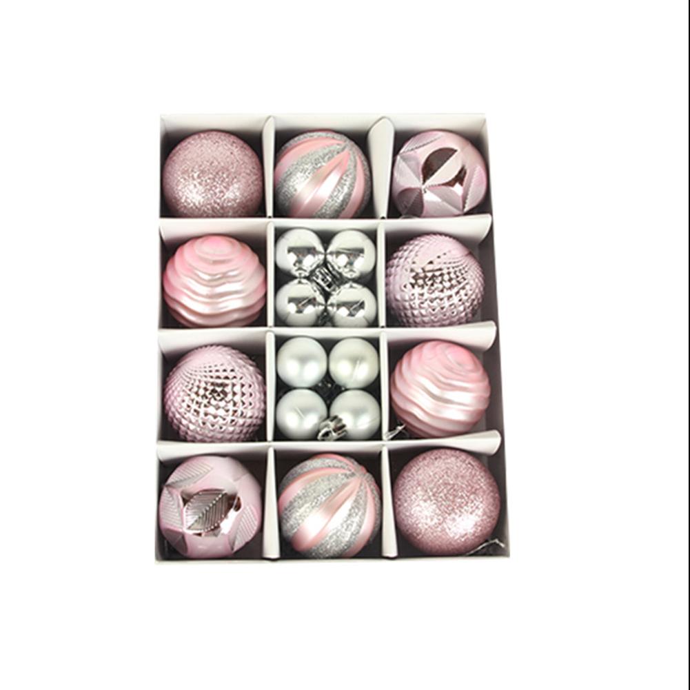 26pcs/set Christmas Ball  Ornaments 3cm 6cm Christmas Ball Gift Box Set For Tree Pendant pink