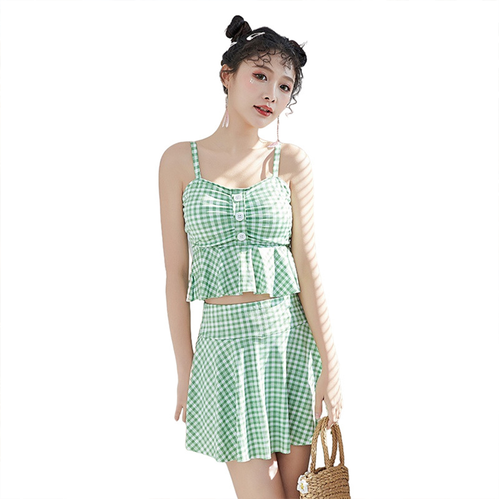2 Pcs/set Female  Summer  Swimsuit  Split Two-piece Small Fresh Conservative Swimsuit For Women green_M