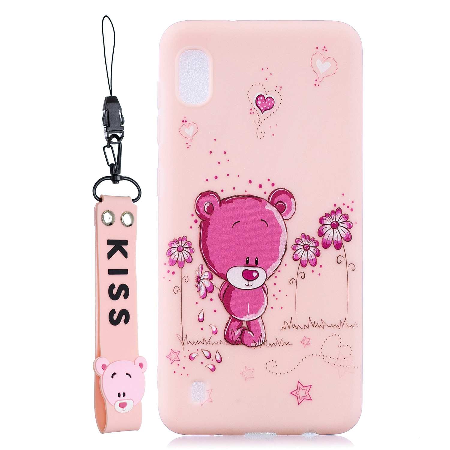 For Samsung A10 Cartoon Lovely Coloured Painted Soft TPU Back Cover Non-slip Shockproof Full Protective Case with Lanyard Light pink