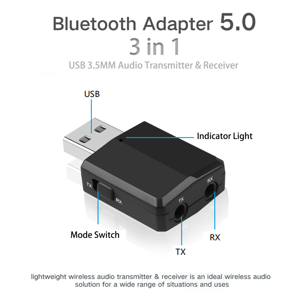 5.0 Wireless Bluetooth Audio Receiver Transmitter USB 3-in-1 TV Computer Aux Adapter black