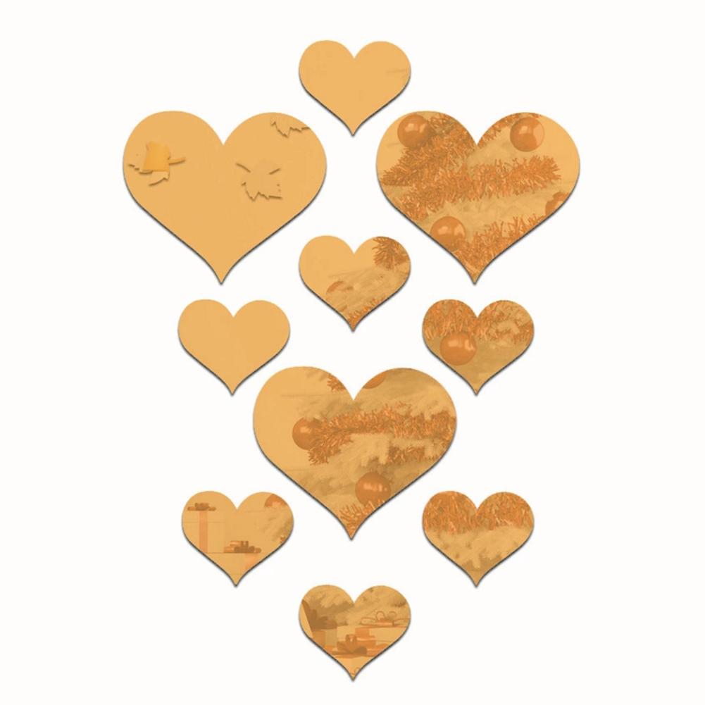10Pcs 3D Loving Heart Shape Mirror Wall Sticker Gold