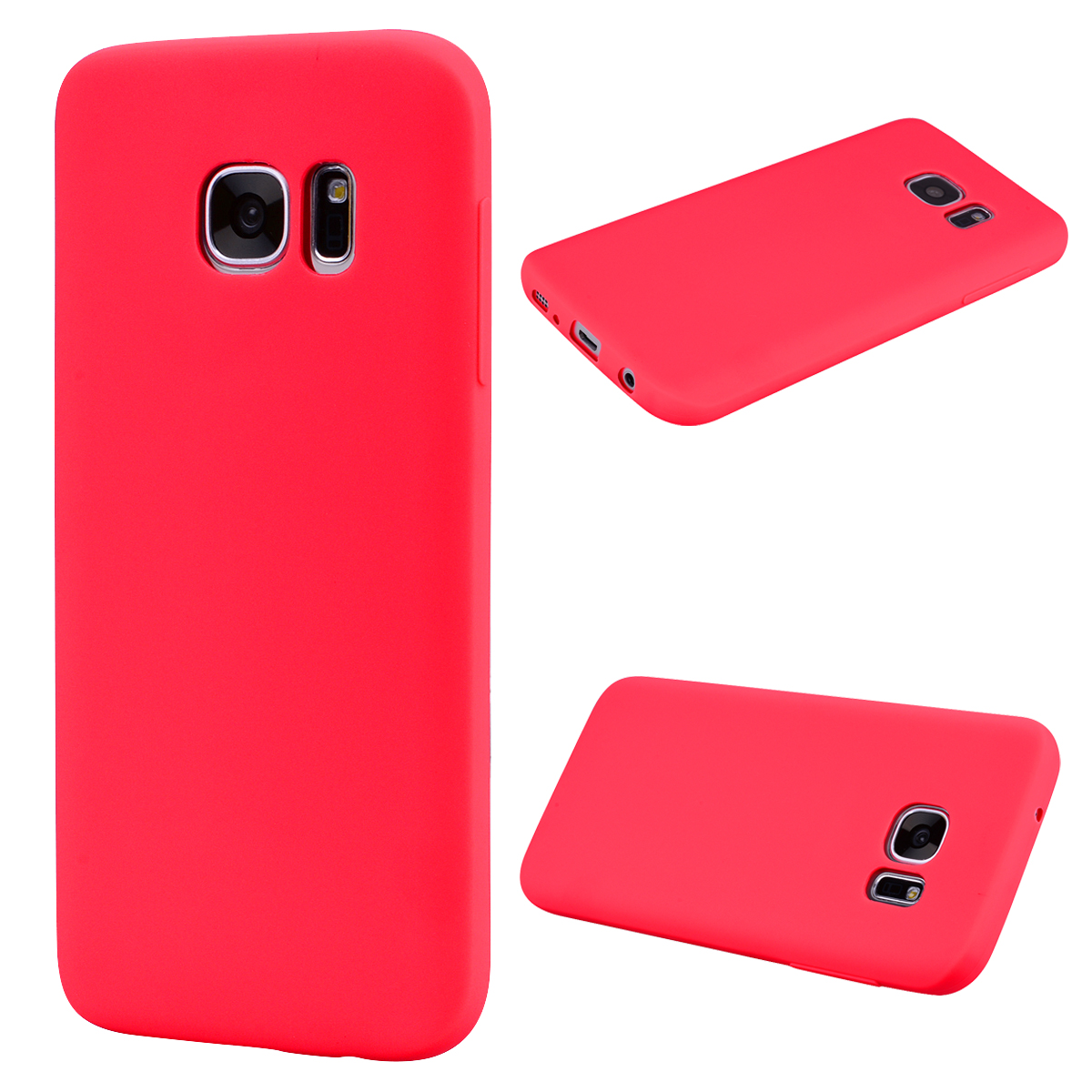 for Samsung S7 edge Cute Candy Color Matte TPU Anti-scratch Non-slip Protective Cover Back Case red