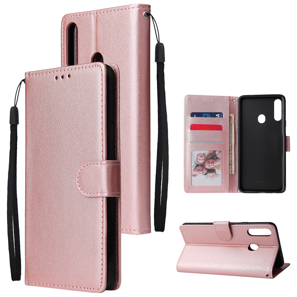 For Samsung A10S A20S Cellphone Cover Mobile Phone Shell Buckle Closure Cards Slots PU Leather Smart Shell with Wallet Overall Protection rose
