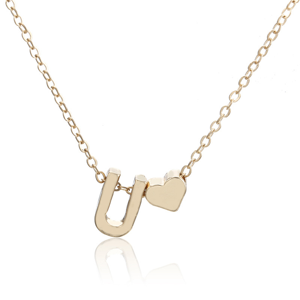 Women Fashion Simple Golden Letter Heart-shaped Necklace Initials Name Necklace Personalized Pendant Necklac