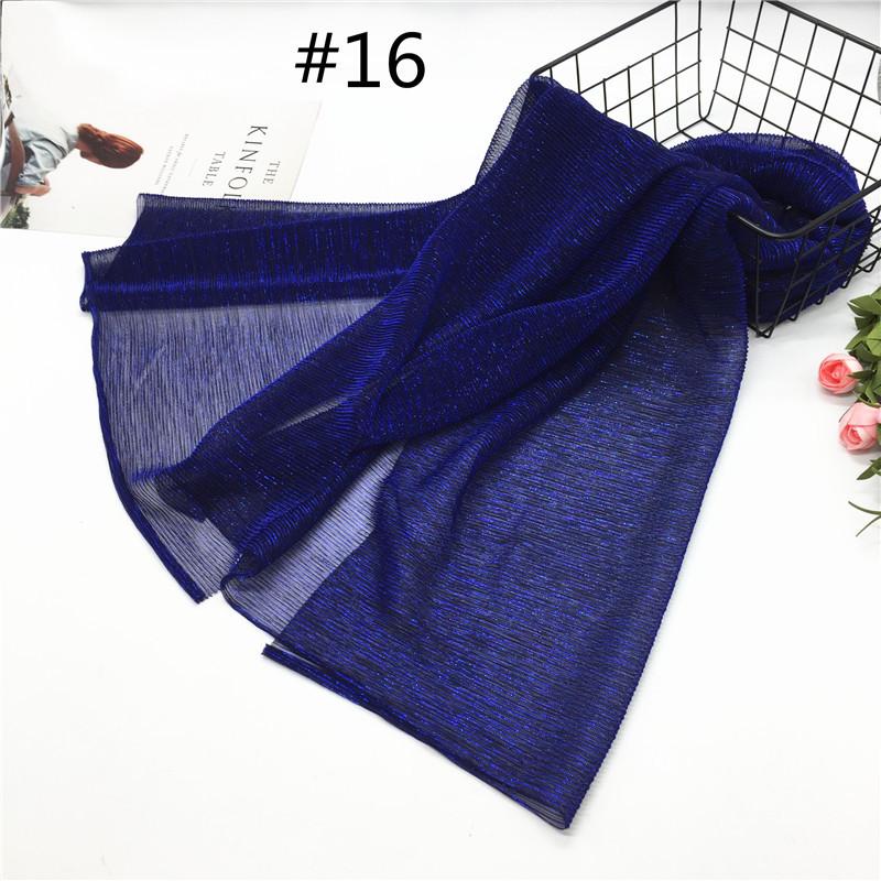 Women Pleat Solid Color Thin Gauze Scarf Muslim Shawl 16#_180cm