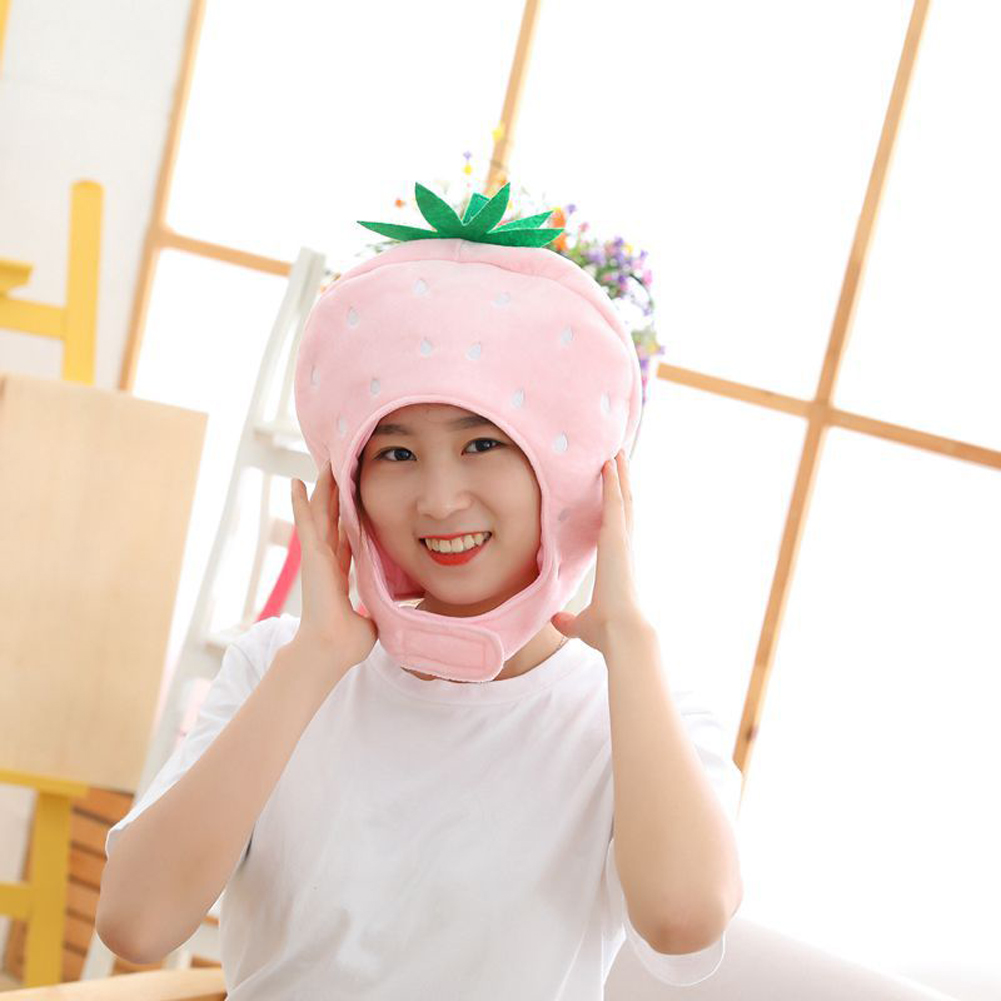 Cute Plush Headwear Strawberry Magic Stick Hat Photo Prop Funny Party Costume Gift Pink