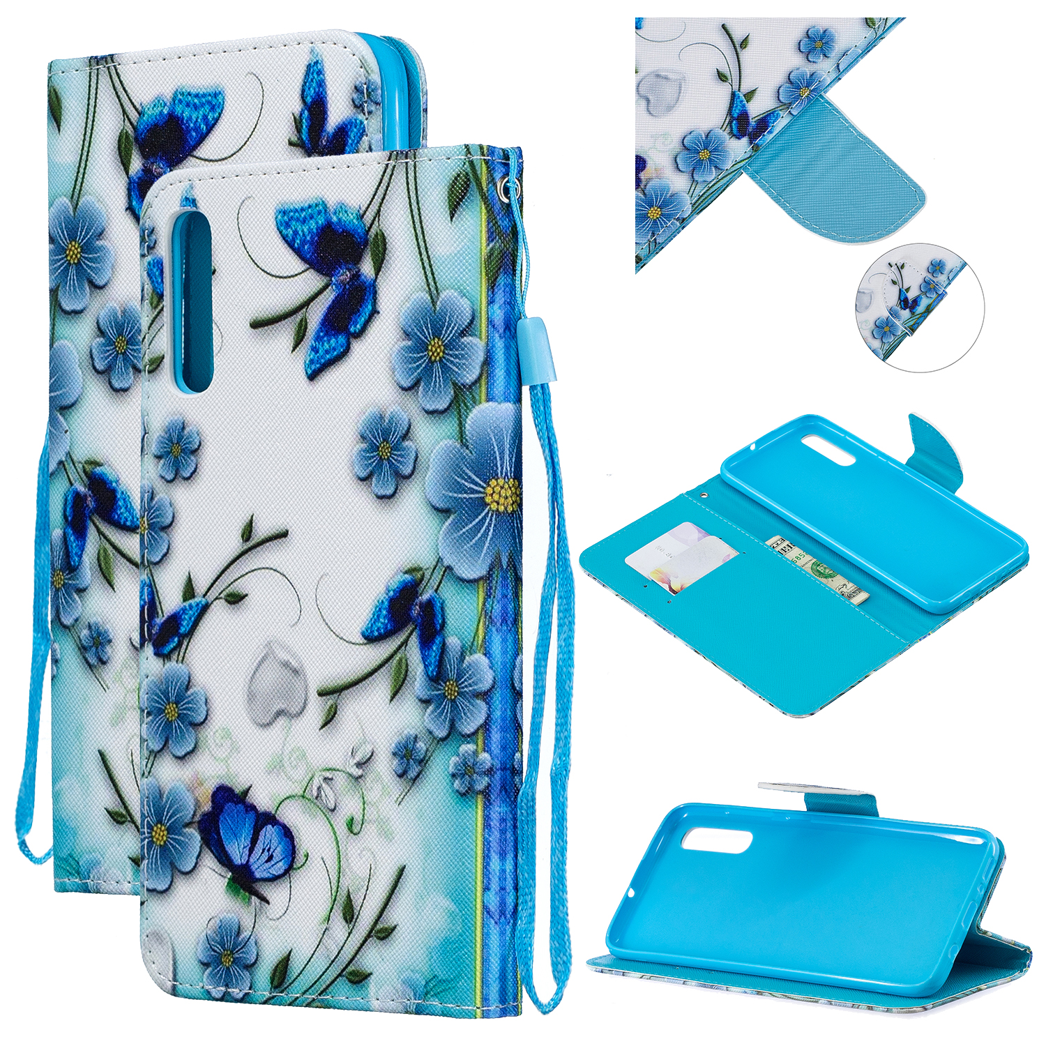 For Samsung A50/A70 Smartphone Case Overall Protective Phone Shell Lovely PU Leather Cellphone Cover with Card Slots  Magic butterfly