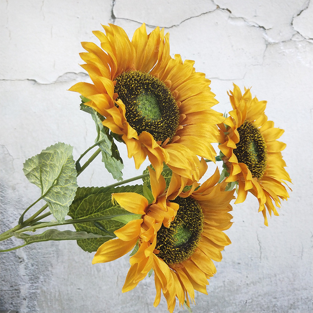 3 Heads Sunflower Artificial Flowers Bouquet Home Wedding Decor DIY Crafts Brown_63cm