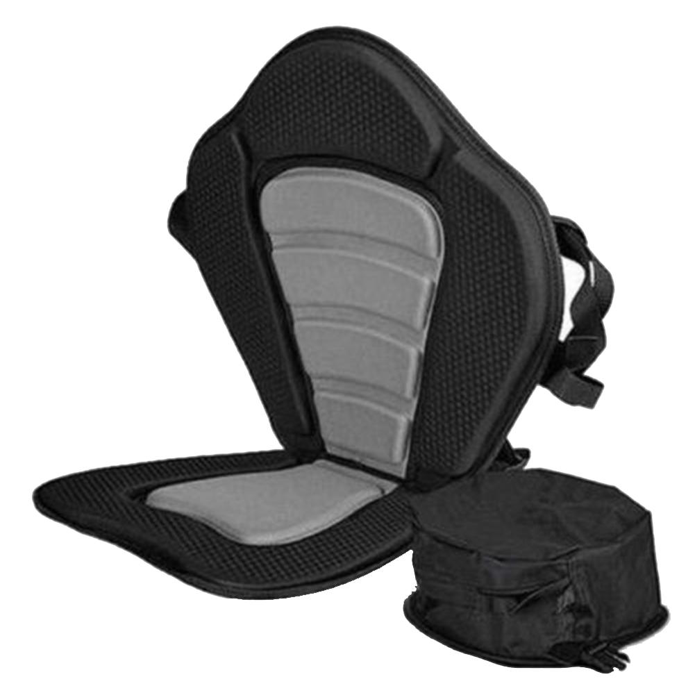 Adjustable Padded Kayak Seat with Storage Bag Canoe Backrest Drifting Cushion black