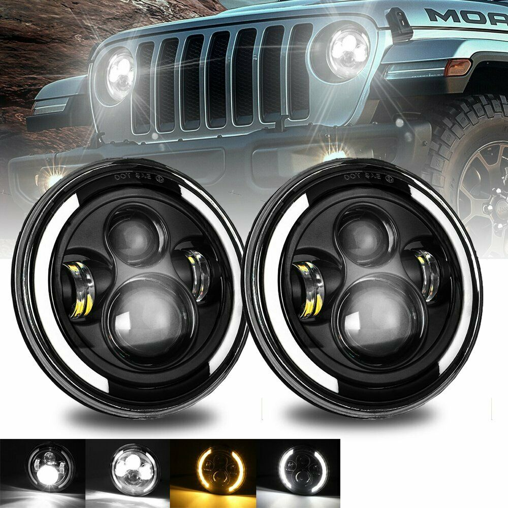 1 Pair 7 Inch Round Shaped LED Front Headlight Daytime Running Light 7 inch