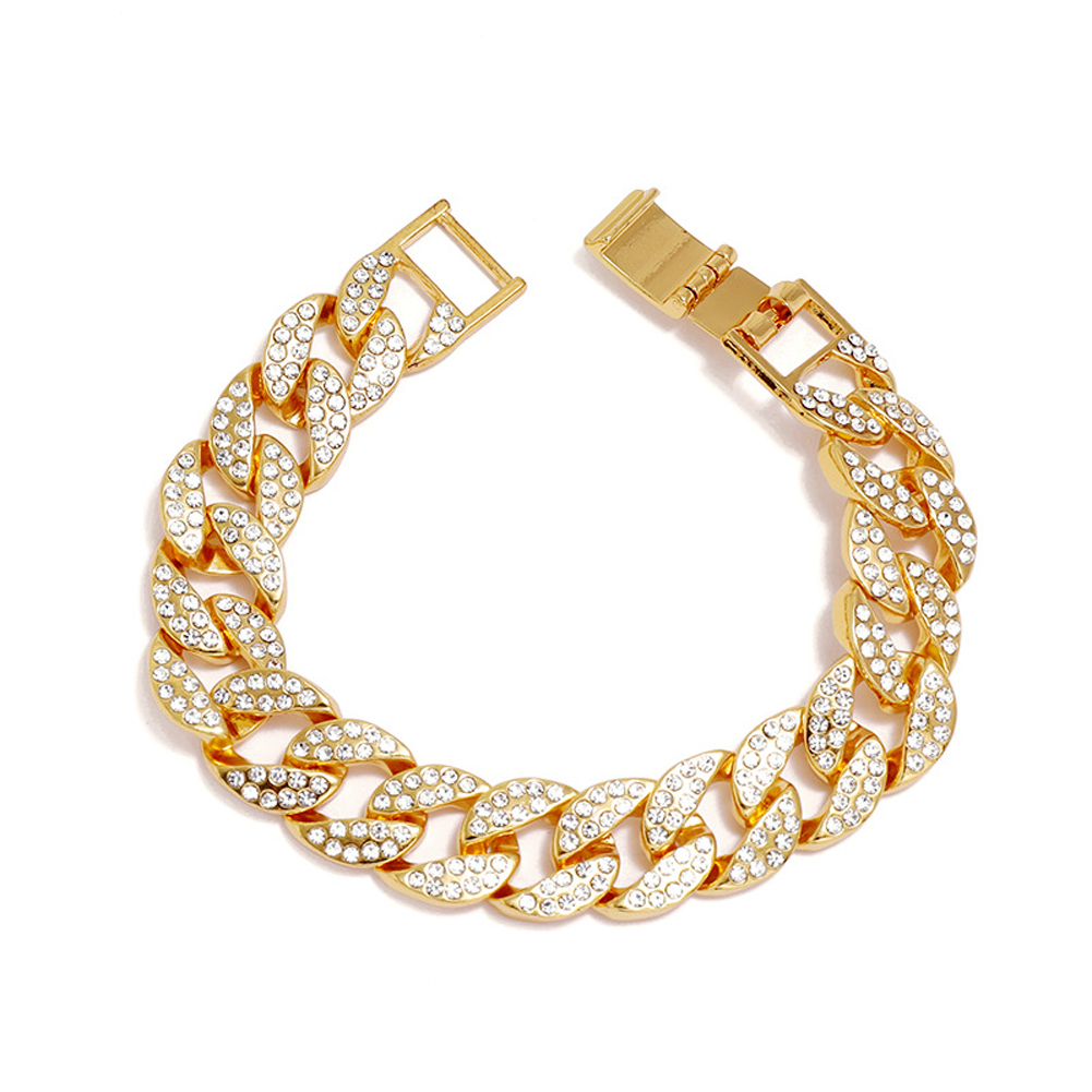Men's Necklace Hip-hop Style Full-diamond Chain Necklace Bracelet Bracelet-gold 20cm
