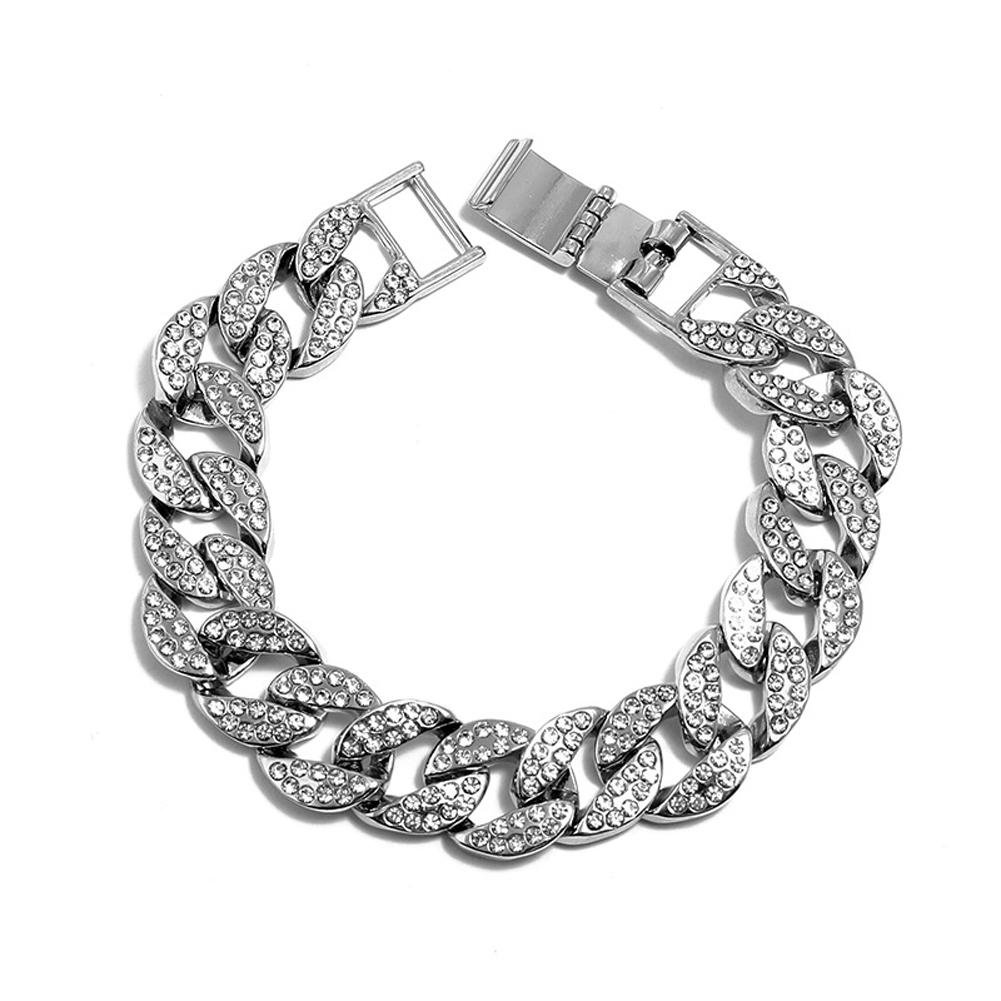 Men's Necklace Hip-hop Style Full-diamond Chain Necklace Bracelet Bracelet-silver 20cm