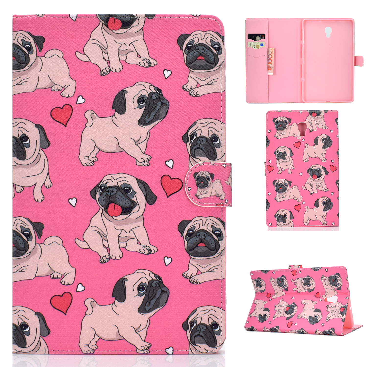 For Samsung T590 Laptop Protective Case Color Painted Smart Stay PU Cover with Front Snap Caring dog