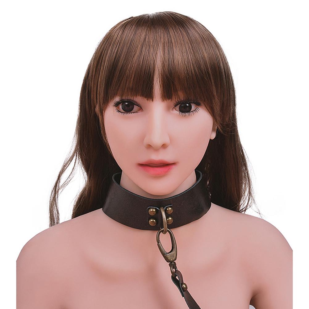 Locking Posture O Ring Collar Leather Neck Belt Adjustable Lockable Choker Collar Restraint Head Harness BDSM Adult Sex Toy Bronze