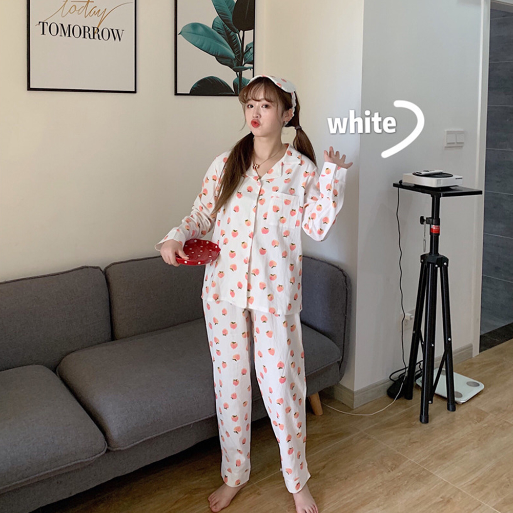 Autumn Winter Loose Cute Sweet Leisure Wear Long Sleeve Pure Cotton Strawberry Pajamas with Eye Patch white_One size