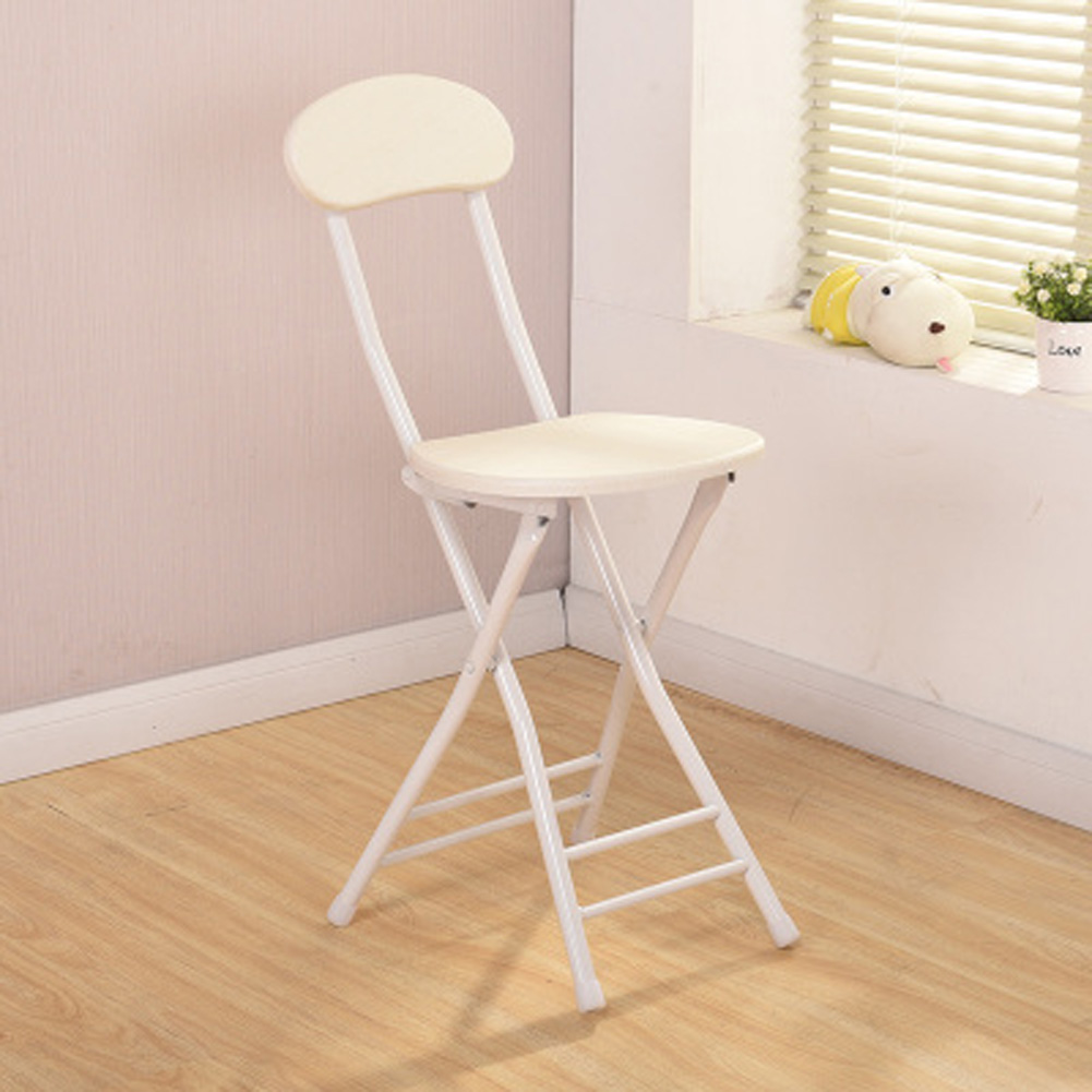 Folding Stool Portable Ergonomic Metal + Density Board Round Chair for Home Adults white