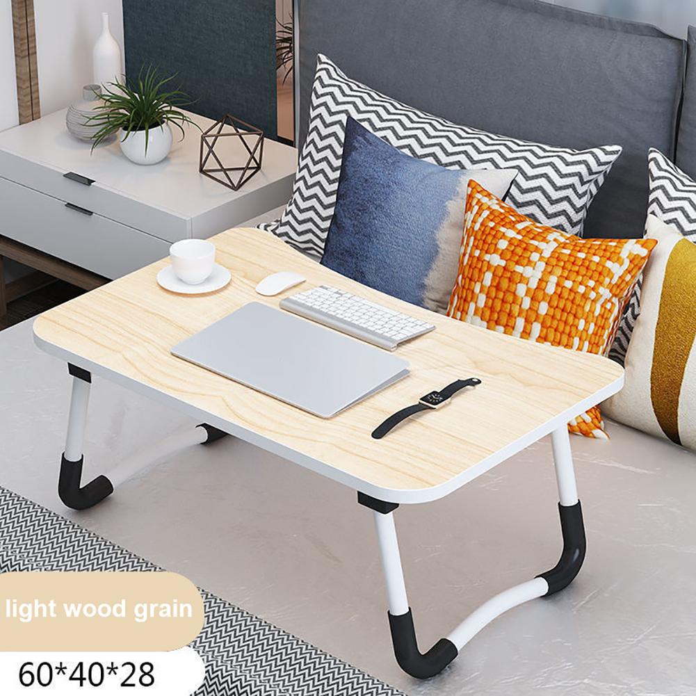 Multifunction Portable Nonslip Folding Computer Desk for Bed Light wood grain_Anti-slip leg