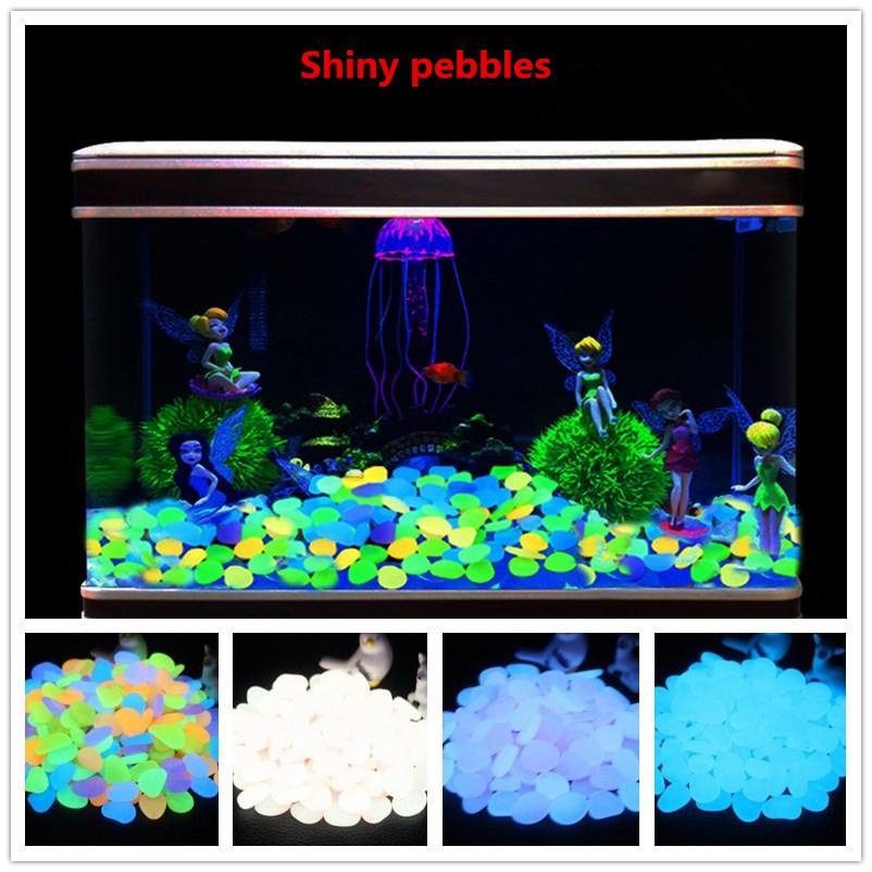 100PCS Luminous Stone Fluorescence Cobblestone Pebble for Home Aquarium Decoration Mixed color (colourful)