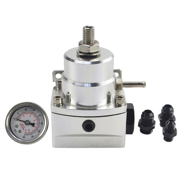 AN8 High Pressure Fuel Regulator W / Boost-8AN 8/8/6 EFI with Reinforcement Silver