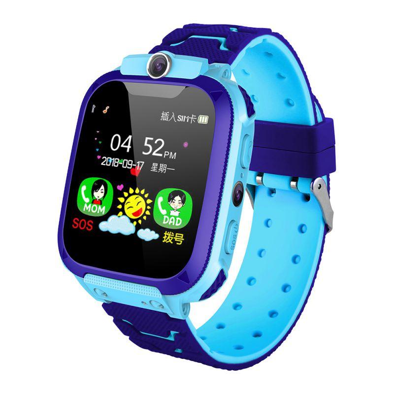 Q12b Children's Smart  Watch Silicone Waterproof Positioning Touch Screen Smart  Watch blue