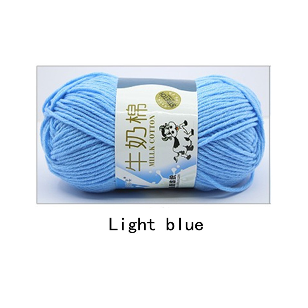 Hand Knitting Cotton Knitting Wool Doll Thread for Knitting Scarves Gloves Clothes Light blue