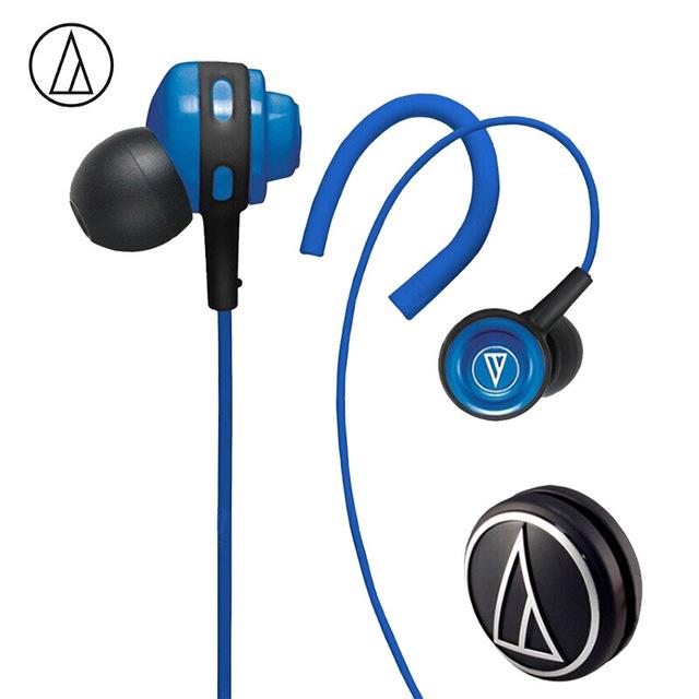 Original Audio-Technica ATH-COR150 Wired Earphone In-ear Sport Headset Adjustable Ear-hook Headphone Sweatproof Design Blue