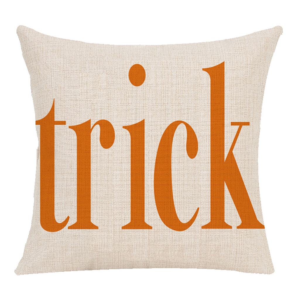 Pillow Case Halloween Pumpkin Trick or Treat Letters Decoration Flax Sofa Cushion Pillow Case Cover E_45*45cm