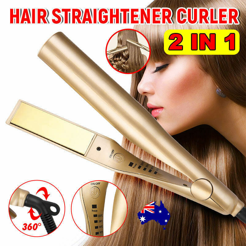 110v-240v Golden Universal Multi-function Hair  Straightener  Curler 2-in-1 Dual-purpose Twisting Splint