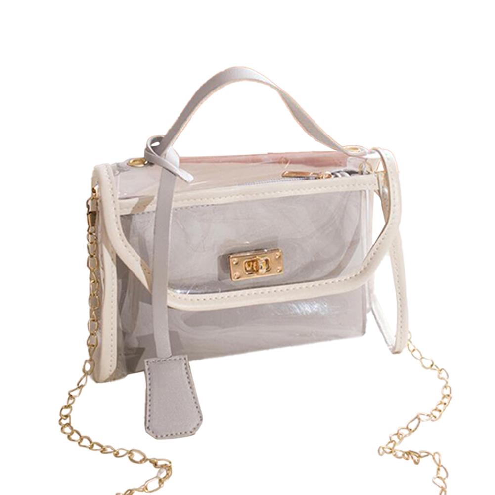 Women Small Square Bag Transparent PVC Satchel Contrast Color Single Strap Cross-body Bag gray