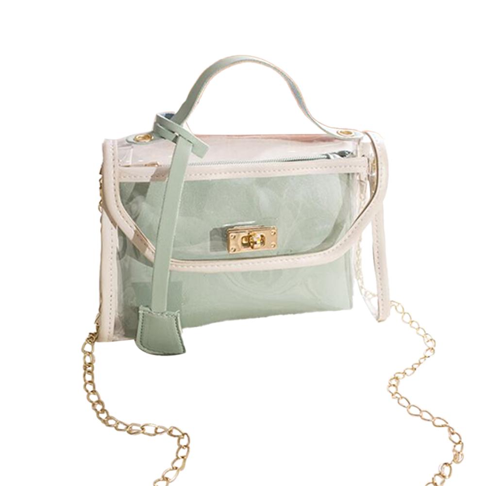 Women Small Square Bag Transparent PVC Satchel Contrast Color Single Strap Cross-body Bag green