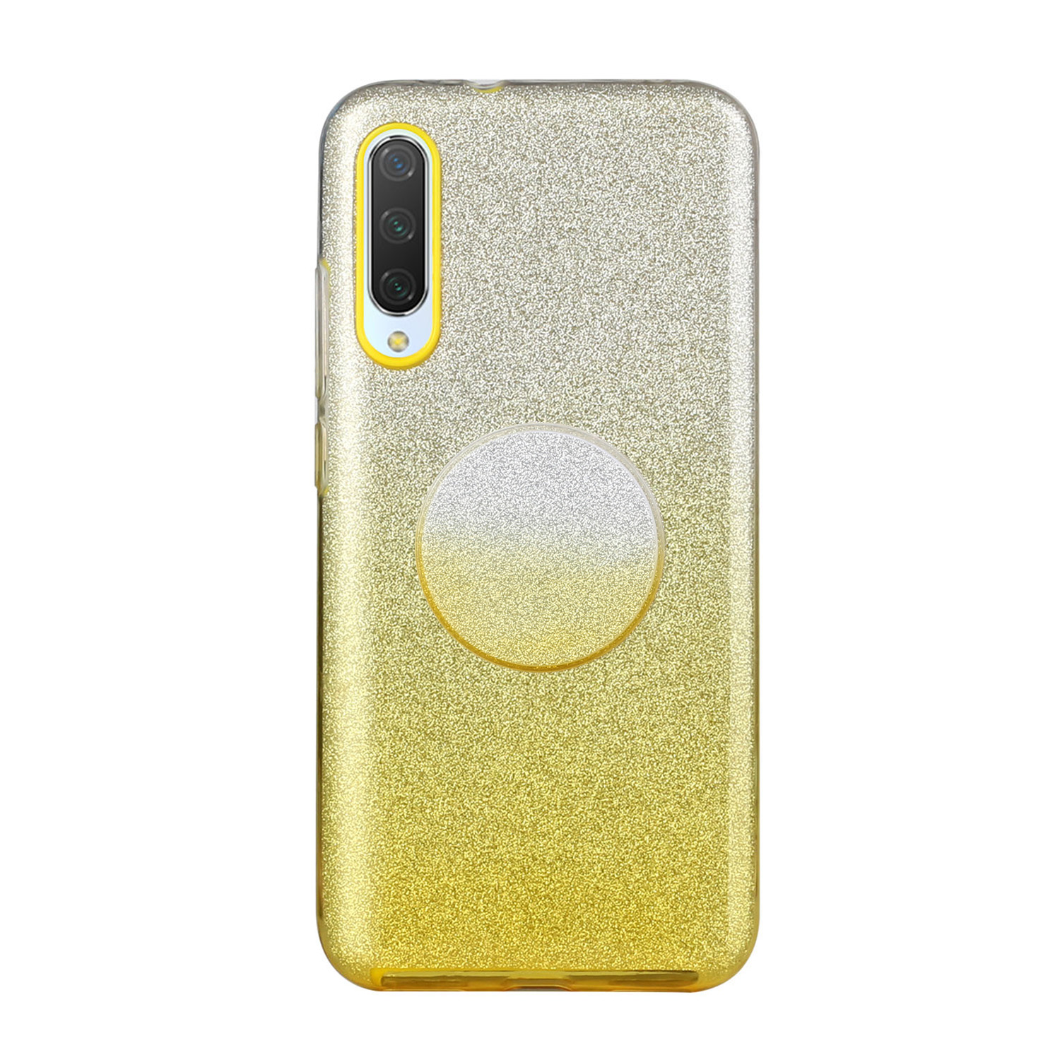 For Samsung A10/A50/A30S/A70/A20S Phone Case Gradient Color Glitter Powder Phone Cover with Airbag Bracket yellow