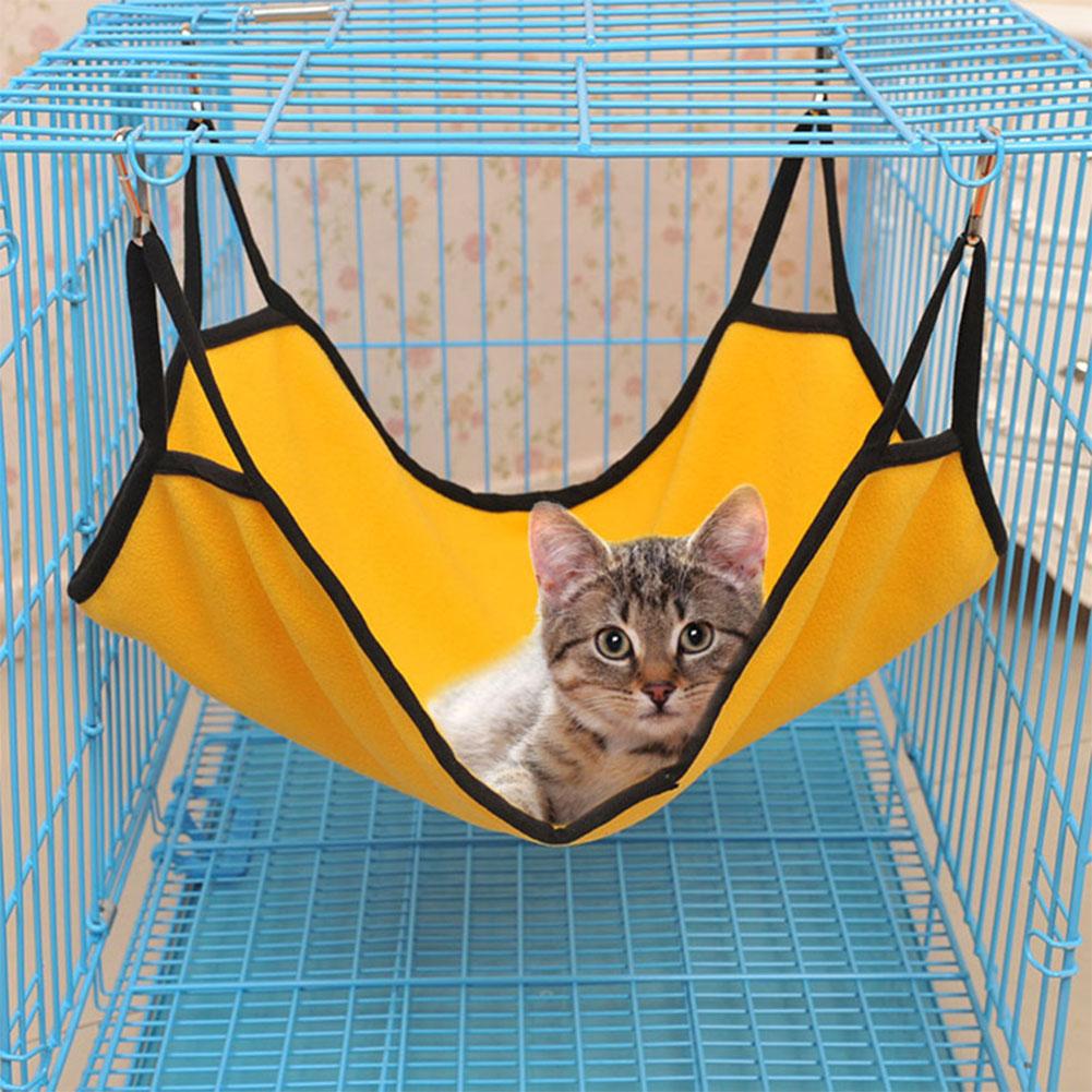 Kitten Cat Hammock Comfortable Soft Hanging Fleece Pet Cage Hammock Bed  Bright yellow