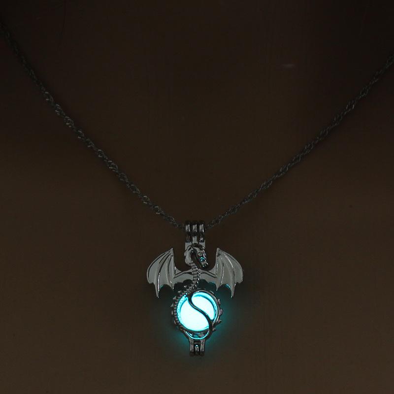 Luminous Alloy Open Cage Mermaid Skull Head Necklace DIY Pendant Halloween Glowing Jewelry Gift NY244-Dragon
