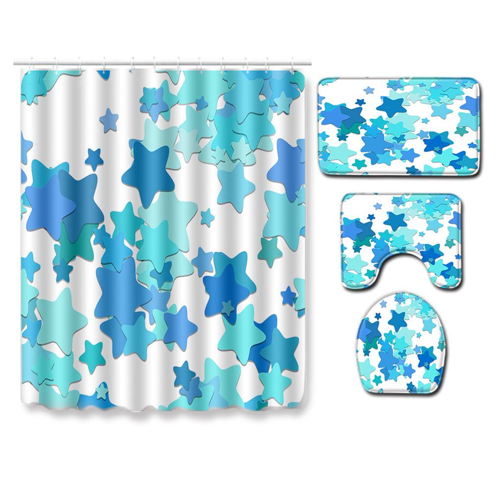 4pcs Shower  Curtain Non-slip Rug Toilet  Lid  Cover Bath  Mat For  Bathroom pj19912-a016_Shower curtain 180*180cm+three-piece set 50*80cm